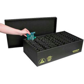 Protektive Pak 37399 ESD In-Plant Handle Container w/Fixed Dividers & Lid Cell Size 8x16-5/8x1