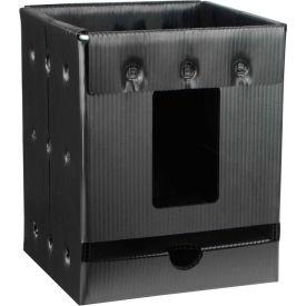 "Protektive Pak Plastek Vertical 7"" Reel Storage Container 37568 8""L x 8""W x 9-1/2""H - Black"