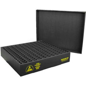 Protektive Pak 38705 ESD In-Plant Handler Adj. Dividers & Lid, 25 Cells, Cell Size 4 x 3-3/4 x 3-1/2