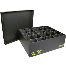 Protektive Pak 38805 ESD In-Plant Handler Adj. Dividers & Lid, 35 Cells, Cell Size 8 x 3-3/4 x 2-1/4