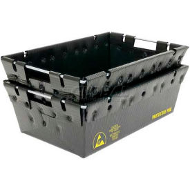 "Protektive Pak 39141 Plastek Conductive Nesting Tote, 27-1/4""L x 12""W x 6""H"