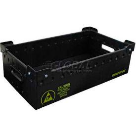 """Protektive Pak 39179 Plastek Conductive Stackable Storage Container, 23-7/8""""L x 13-7/8""""W x 6-1/4""""H"""