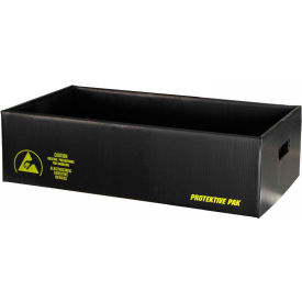 "Protektive Pak 39307 Plastek ESD Shipping Storage Container, 19-5/8""L x 15-5/8""W x 6-3/16""H"
