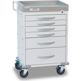 Detecto® Rescue Series General Purpose Medical Cart, White Frame with 6 White Drawers