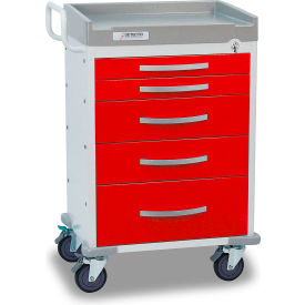 Detecto® Rescue Series Emergency Room Medical Cart, White Frame with 5 Red Drawers