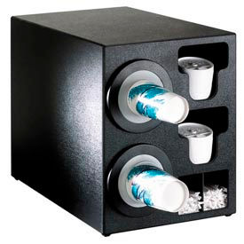 Dispense-Rite Countertop 2 Cup Dispenser w/Organizers Black by