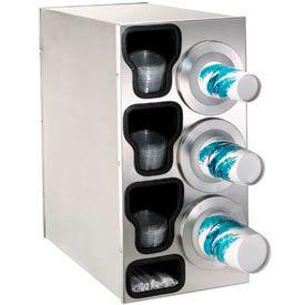 Dispense-Rite® Countertop Right 3 Cup Dispensing Cabinet w/Organizers - SS