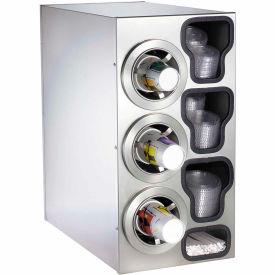 Dispense-Rite® Countertop SS Left 3 Cup Dispensing Cabinet w/Organizers