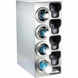 Dispense-Rite® Countertop SS Left 4 Cup Dispensing Cabinet w/Organizers