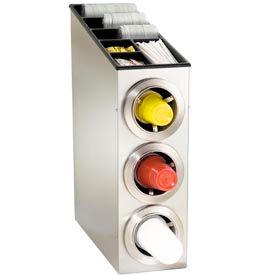 Dispense-Rite® Countertop SS 3 Cup Dispense Cabinet w/Lid & Straw Organizer
