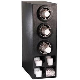 Dispense-Rite® Verticle 3 Cup Black Dispense Cabinet w/Organizers