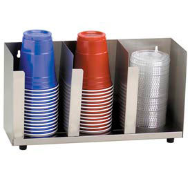 Dispense-Rite® 3 Section Stainless Steel Cup and Lid Organizer