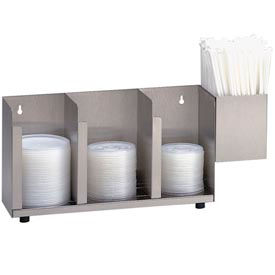 Dispense-Rite® 3 Section Stainless Steel Cup, Lid & Straw Organizer