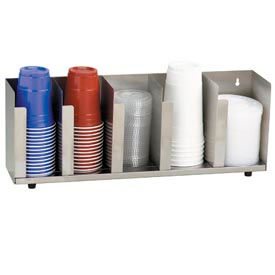Dispense-Rite® 5 Section Stainless Steel Cup and Lid Organizer