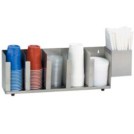 Dispense-Rite® 5 Section Stainless Steel Cup, Lid & Straw Organizer