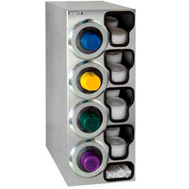 Dispense-Rite® SLR Left 4 Cup Dispensing Cabinet w/Lid & Straw Organizer