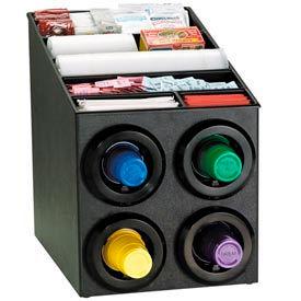 Dispense-Rite Countertop 4 Cup Dispenser w/Lid & Straw Organizer by