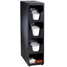 Dispense-Rite® Counter Vertical Lid & Straw Organizer - 3 Sections, Black