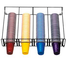 Dispense-Rite® 4 Section Horizontal Overhead Wire Rack Cup Dispenser