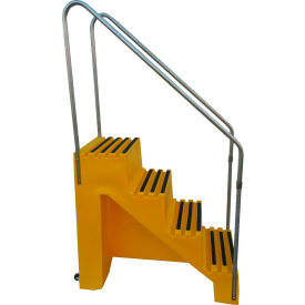 "4 Step Plastic Step Stand - Yellow 22""W x 43""D x 39""H - T445-14"