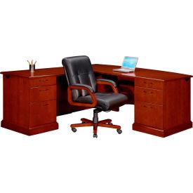 """Flexsteel Executive L Desk w/ Left Return - 72""""W x 84""""D x 30""""H - Brown Cherry - Belmont Series"""