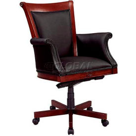 """Rue De Lyon Executive High Back Chair W/ Upholstered Arms in Black Leather - 28-3/4""""L x 30-1/2""""W"""