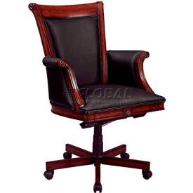"""Rue De Lyon Executive High Back Chair W/ Wood/Upholstered Arms in Black Leather -28-3/4""""L x 29-3/4""""W"""