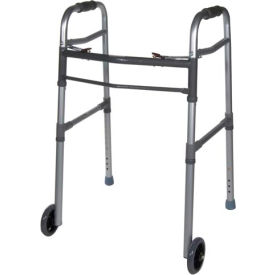 "Drive Medical 10253-1 Deluxe Two Button Folding Universal Walker with 5"" Wheels"