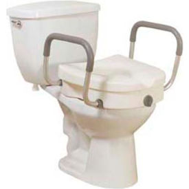 """Drive Medical 12008KDR Raised Toilet Seat with Removable Padded Arms, 5""""H Seat"""