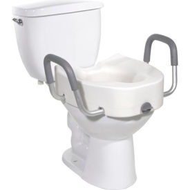 Drive Medical 12013 Premium Plastic Raised Toilet Seat with Lock and Padded Armrests, Elongated