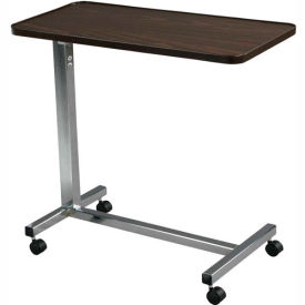 """Non Tilt Top Overbed Table, 30""""W x 15""""D Tabletop, 28""""- 45"""" Height, Chrome Base"""