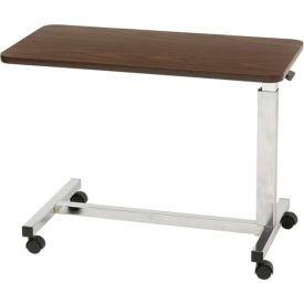 "Drive Medical Low Height Overbed Table, 15"" x 30"" Tabletop, 19.5""- 27.5"" Height, Walnut"