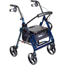 "Drive Medical 795B Duet Transport Wheelchair Chair Rollator Walker, Blue, 8"" Casters"