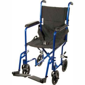 """Lightweight Aluminum Transport Wheelchair, Blue Frame, 17"""" Seat Width"""