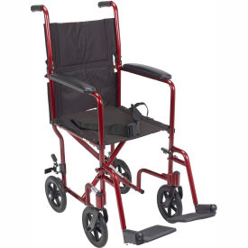 "Lightweight Aluminum Transport Wheelchair, Red Frame, 17"" Seat Width"