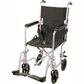 """Lightweight Aluminum Transport Wheelchair, Silver Frame, 17"""" Seat Width"""