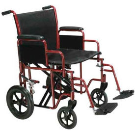 "Drive Medical BTR20-R Bariatric Heavy Duty Transport Wheelchair, 20"" Seat Width, Red Frame"