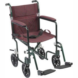 """Fly-Weight Aluminum Transport Chair, Green Frame and Burgundy Upholstery, 19"""" Seat Width"""
