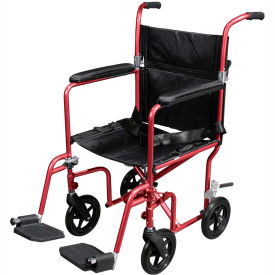 Fly-Weight Aluminum Transport Chair with Removable Casters, Red Frame and Black Upholstery