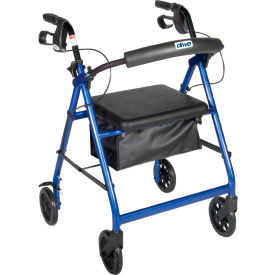 """Aluminum Rollator with 6"""" Casters, Fold Up and Removable Back Support, Padded Seat, Blue"""