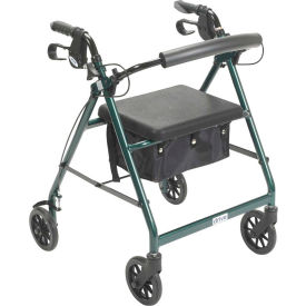 "Aluminum Rollator with 6"" Casters, Fold Up and Removable Back Support, Padded Seat, Green"