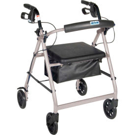 """Aluminum Rollator with 6"""" Casters, Fold Up and Removable Back Support, Padded Seat, Silver"""