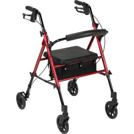 """Drive Medical Adjustable Height Rollator with 6"""" Casters, Red"""