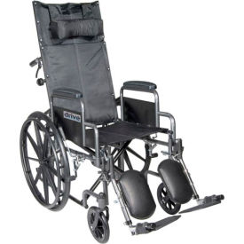 """Silver Sport Reclining Wheelchair with Elevating Leg Rests, Detachable Desk Arms, 16"""" Seat"""