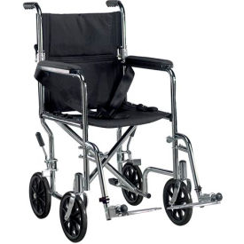 "Go-Kart Steel Transport Chair, 19"" Seat Width, Black Upholstery and Chrome Frame"