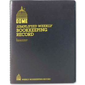 """Dome® Weekly Bookkeeping Record, 8-3/4"""" x 11-1/4"""", Black Vinyl Cover"""