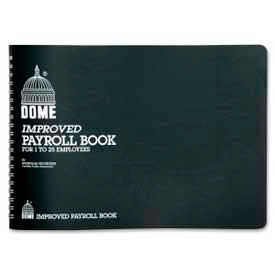 """Dome® Payroll Book, For 1 to 15 Employees, 10"""" x 7-1/2"""", Blue Cover"""