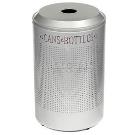 Rubbermaid® Silhouette DRR24C Recycling Receptacle w/Can & Bottle Opening, 26 Gallon - Silver