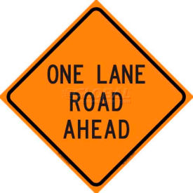 """Dicke Safety Reflective Roll-Up Sign, 48"""" x 48"""", ONE LANE ROAD AHEAD, RUR48-200 OLRA"""