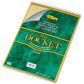 Docket® Wirebound Letter Size Legal Rule Pad with Cover, Canary, 70 Sheets/Pad